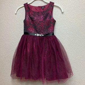 Girls Zunie Burgundy Brocade Tulle Party Dress  7